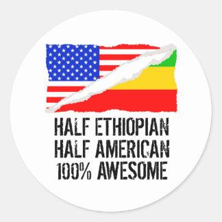 Half Ethiopian Half American Awesome Classic Round Sticker