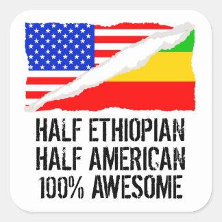 Half Ethiopian Half American Awesome Square Sticker