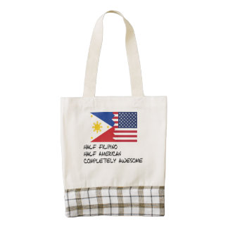 Half Filipino Completely Awesome Zazzle HEART Tote Bag