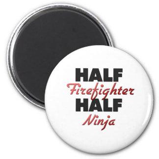 Half Firefighter Half Ninja 2 Inch Round Magnet