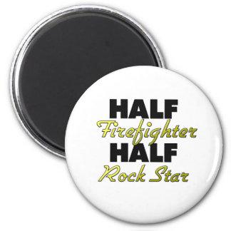 Half Firefighter Half Rock Star 2 Inch Round Magnet
