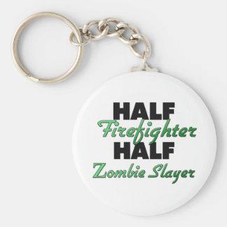 Half Firefighter Half Zombie Slayer Keychain