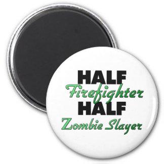 Half Firefighter Half Zombie Slayer 2 Inch Round Magnet