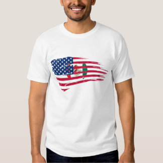HALF FLAG MEXICAN AMERICA T SHIRT