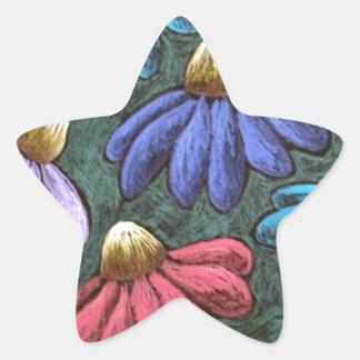 half flowers star sticker