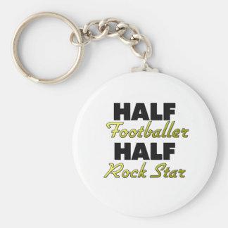 Half Footballer Half Rock Star Keychains