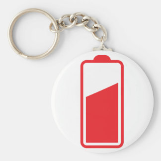 Half full red battery basic round button keychain