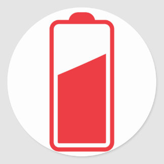 Half full red battery classic round sticker