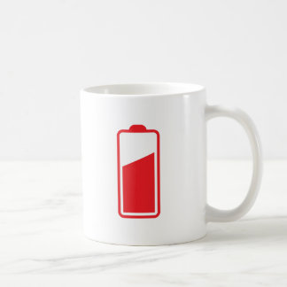 Half full red battery coffee mug
