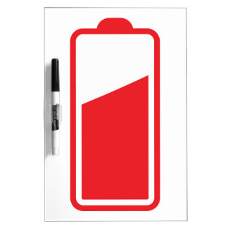 Half full red battery dry erase board