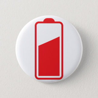 Half full red battery pinback button