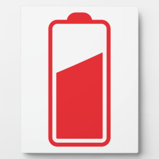 Half full red battery plaque