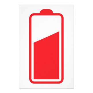 Half full red battery stationery