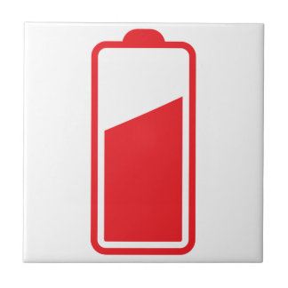 Half full red battery tile