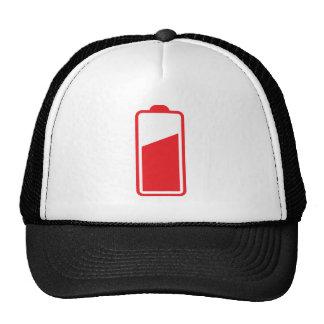 Half full red battery trucker hat