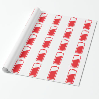 Half full red battery wrapping paper