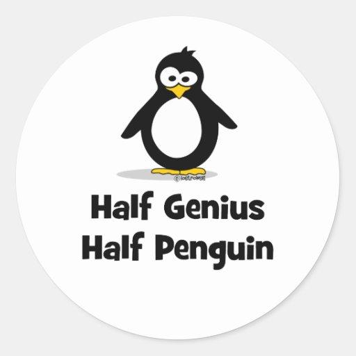 Half Genius Half Penguin Round Stickers
