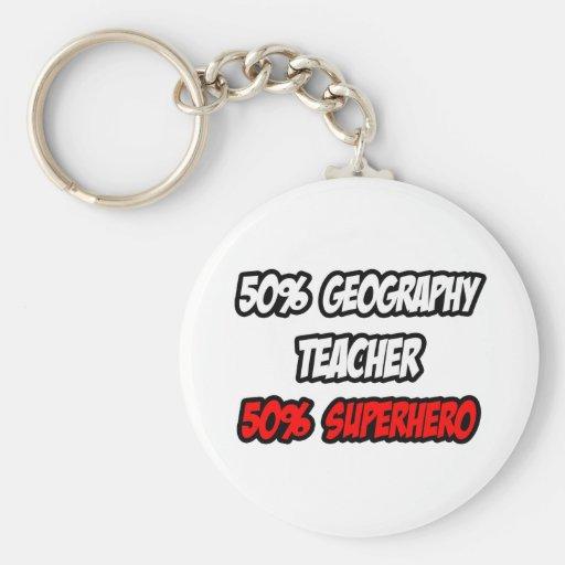 Half Geography Teacher...Half Superhero Basic Round Button Keychain