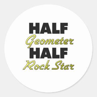 Half Geometer Half Rock Star Round Stickers