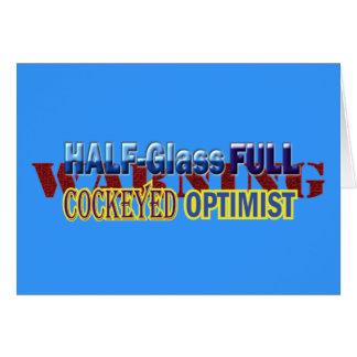 Half Glass Full Optimist Text Design Card