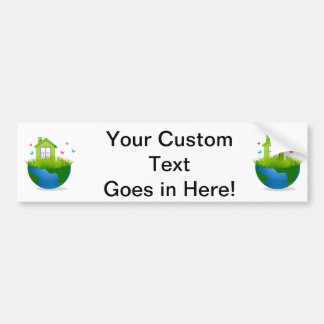 half globe with green house and birds ecolog desig car bumper sticker