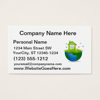 half globe with green house and birds ecolog desig business card