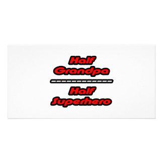 Half Grandpa Half Superhero Photo Card Template