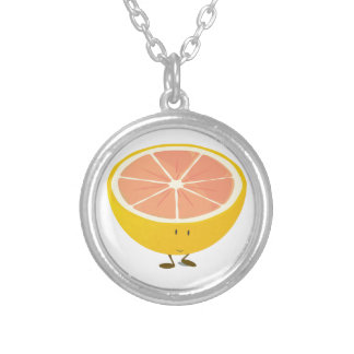 Half grapefruit smiling character round pendant necklace
