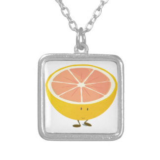 Half grapefruit smiling character necklaces