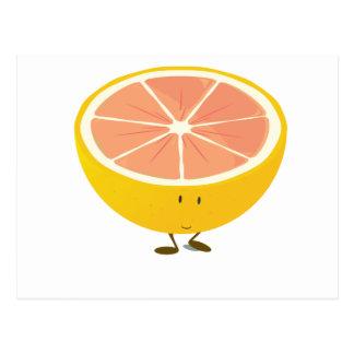 Half grapefruit smiling character post card