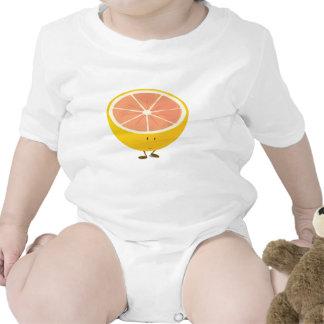 Half grapefruit smiling character romper