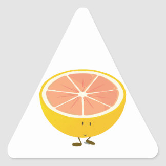 Half grapefruit smiling character triangle sticker