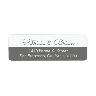 half gray modern address label with couple names