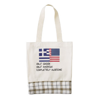 Half Greek Completely Awesome Zazzle HEART Tote Bag