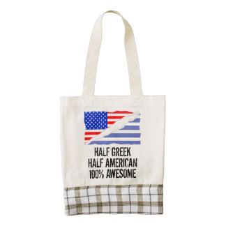 Half Greek Half American Awesome Zazzle HEART Tote Bag