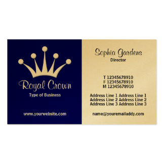Half & Half (Crown) - Dark Blue (Gold) Double-Sided Standard Business Cards (Pack Of 100)