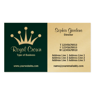 Half & Half (Crown) - Dark Green (Gold) Double-Sided Standard Business Cards (Pack Of 100)