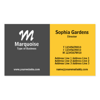 Half & Half - Gray and Amber Double-Sided Standard Business Cards (Pack Of 100)