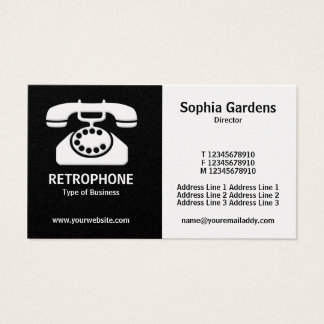 Half & Half (Phone)- Black and White (Gold) Business Card