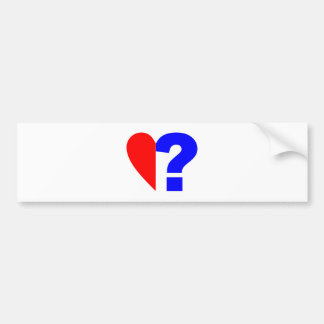 half heart question mark helped heart question Mar Car Bumper Sticker