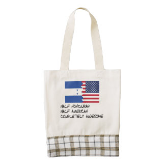 Half Honduran Completely Awesome Zazzle HEART Tote Bag