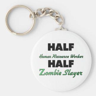 Half Human Resource Worker Half Zombie Slayer Basic Round Button Keychain