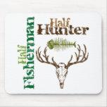 Half Hunter Half Fisherman Mouse Pad