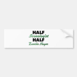 Half Iconologist Half Zombie Slayer Bumper Sticker