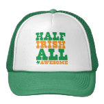 HALF IRISH ALL AWESOME funny St Patrick's day Mesh Hats