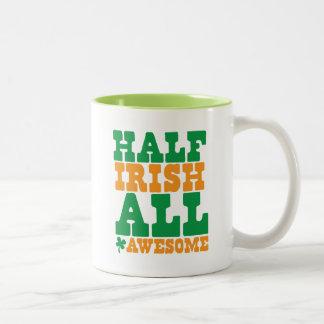 HALF IRISH ALL AWESOME funny St Patrick's day Two-Tone Coffee Mug