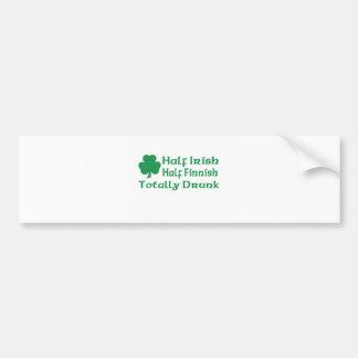 Half Irish Half Finnish Totally Drunk Car Bumper Sticker