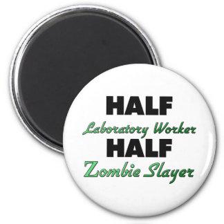 Half Laboratory Worker Half Zombie Slayer 2 Inch Round Magnet