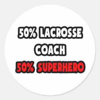 Half Lacrosse Coach Half Superhero Sticker