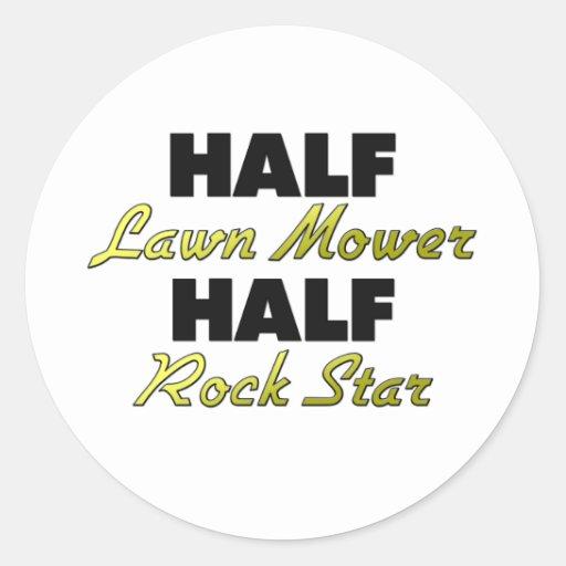 Half Lawn Mower Half Rock Star Classic Round Sticker